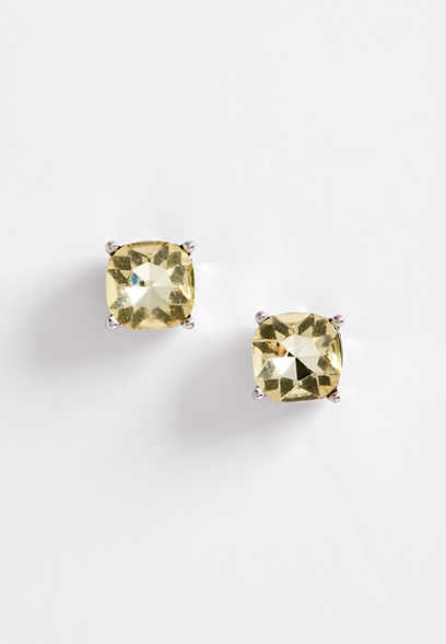 yellow stone stud earring