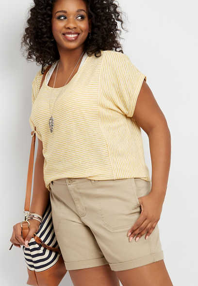 "plus size khaki chino 7"" bermuda short"