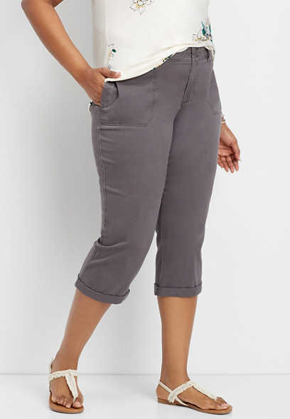 plus size slate cropped chino pant