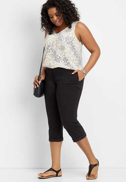 plus size black chino cropped pant