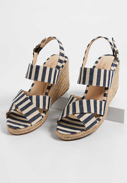 Elsy striped jute wedge