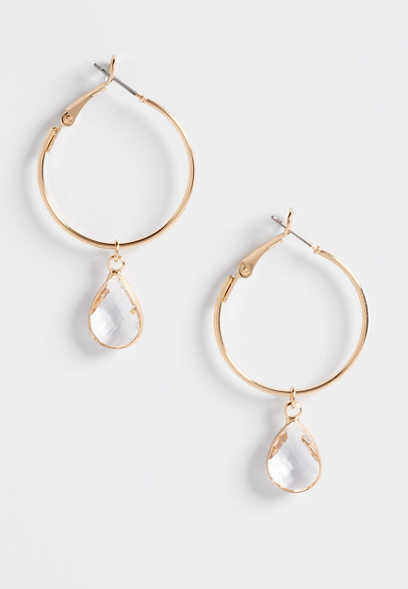 teardrop crystal hoop earrings