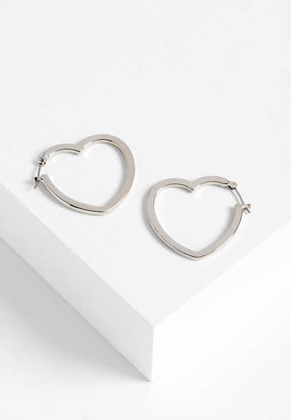 heart shaped hooped earrings