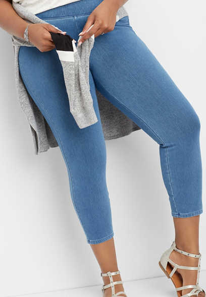 plus size knit denim cropped pant