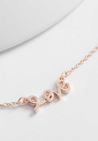 dainty cursive love necklace