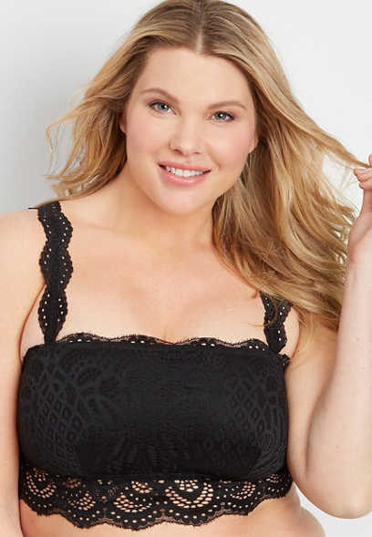 plus size removable strap lace bandeau
