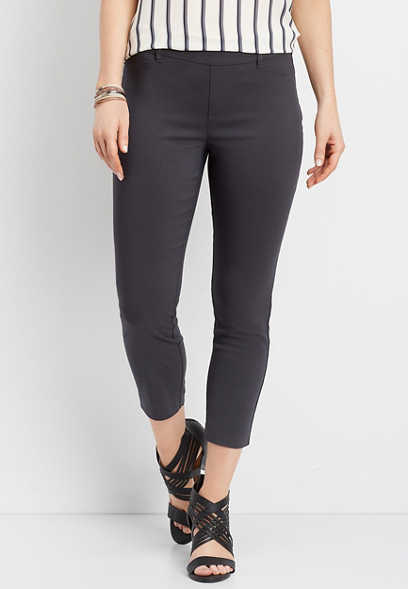 gray pull on bengaline cropped pant