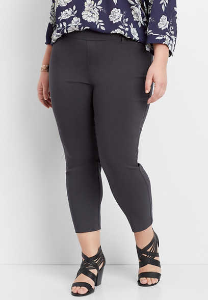 plus size gray pull on bengaline cropped pant