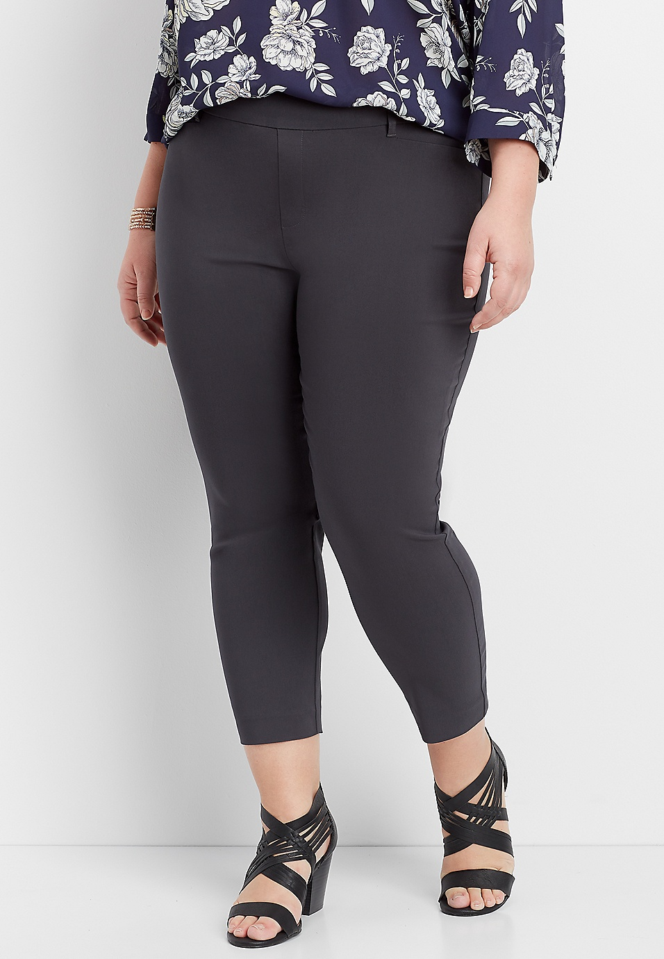 c6857b9b28e plus size gray pull on bengaline cropped pant