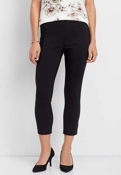 black pull on bengaline cropped pant