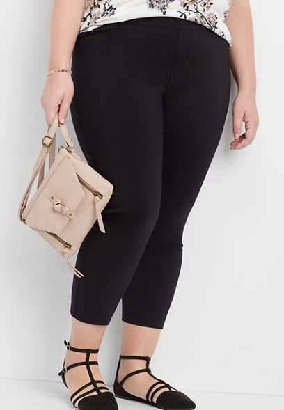 plus size black pull on bengaline cropped pant