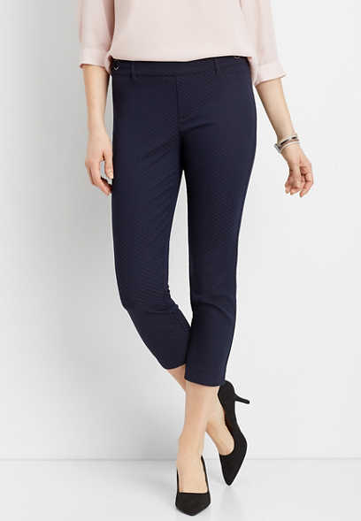 textured navy stretch cropped pant