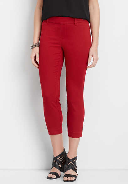 red textured stretch cropped pant