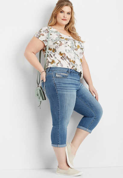 plus size DenimFlex™ medium wash rolled hem capri