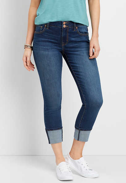 DenimFlex™ high rise double button cuffed cropped jean