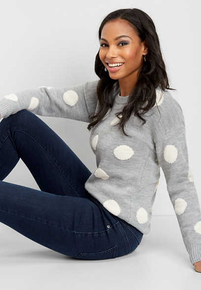 polka dot pullover sweater