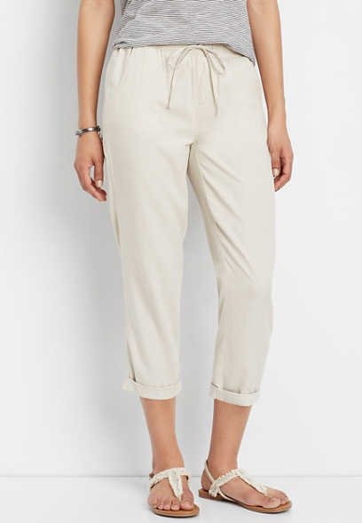 khaki pull on cropped pant