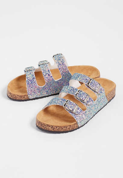 Abby triple strap glitter molded footbed sandal