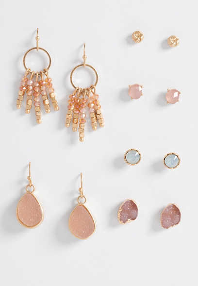 rose gold earring set