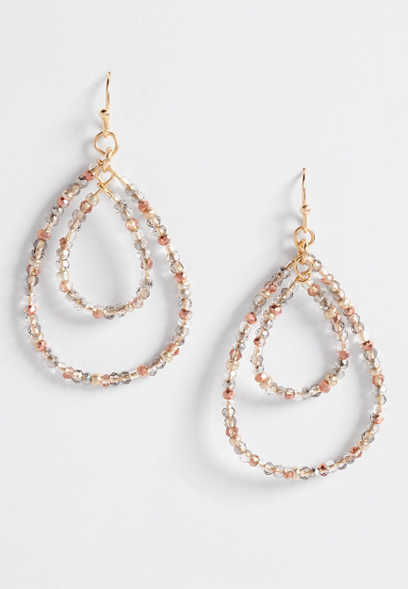 double tear drop beaded earrings