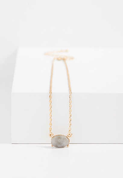 semi-precious oval stone necklace