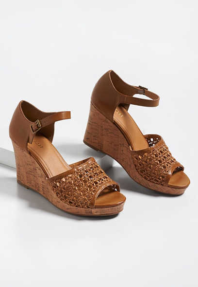 Eloise huarache cork wedge