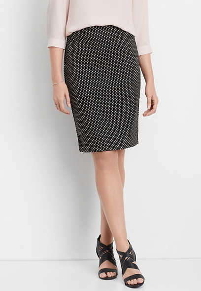 textured pull on pencil skirt