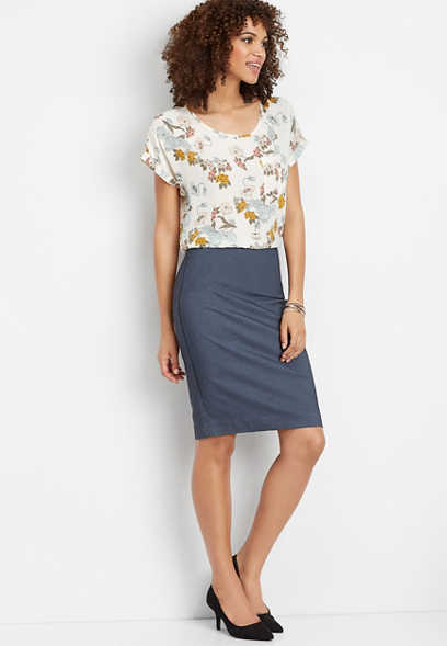 cross dye pull on pencil skirt