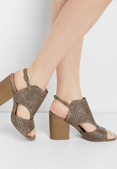 Emilia perforated block heel
