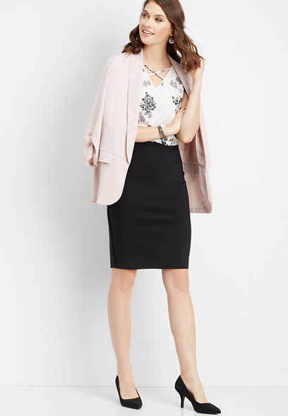 black pull on pencil skirt