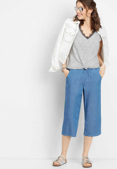 chambray pull on cropped pant