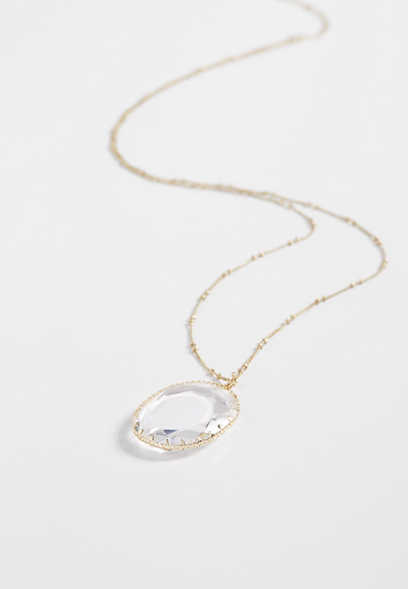 clear stone oval pendant necklace