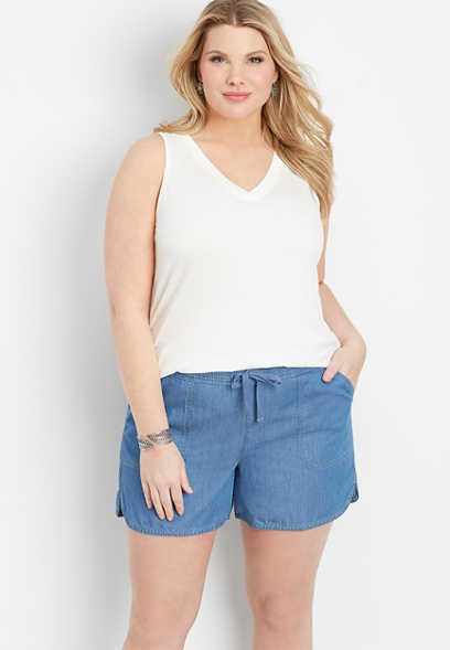 plus size chambray 5in pull on short