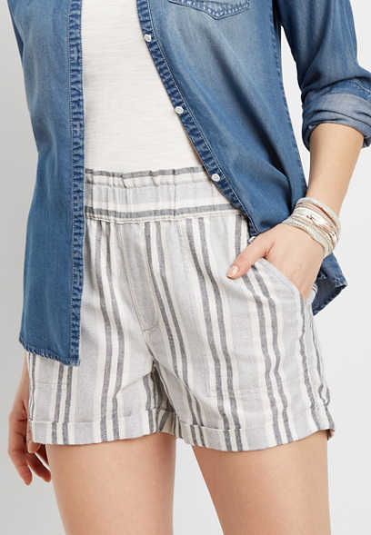 stripe roll hem linen short