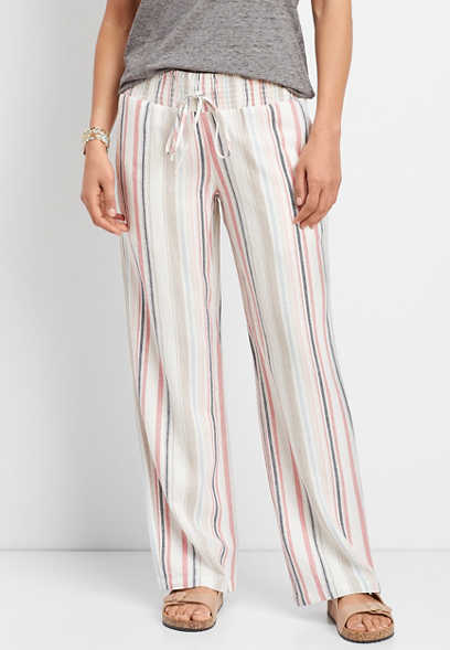 linen multi stripe pull on wide leg pant