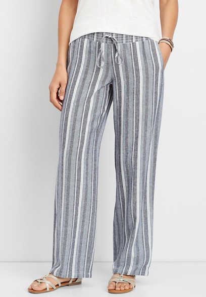 linen stripe pull on wide leg pant