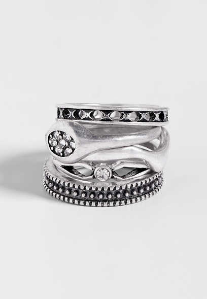 five piece silvertone ring set