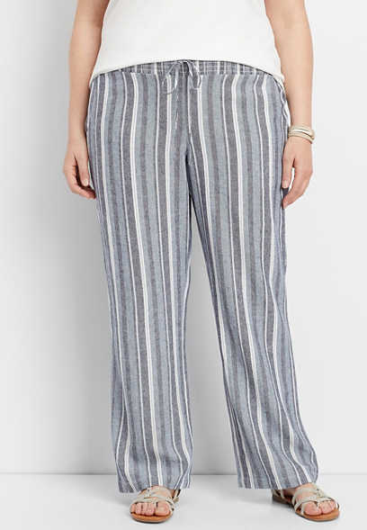 plus size linen stripe pull on wide leg pant