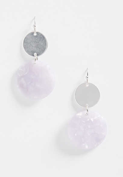 double drop lavender earring
