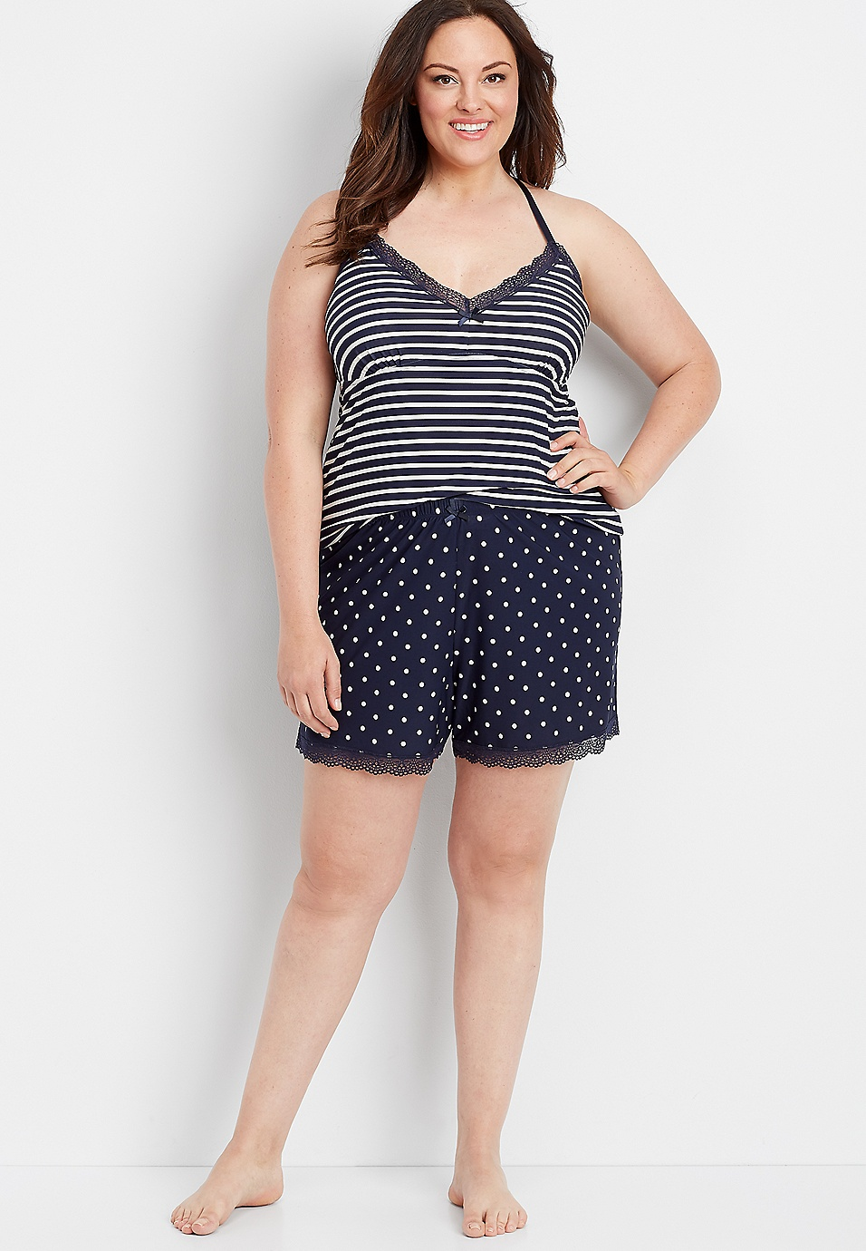 895a0d1c1 plus size knit stripe dot shortie set