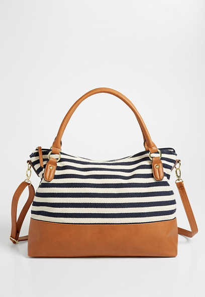 slouchy stripe satchel