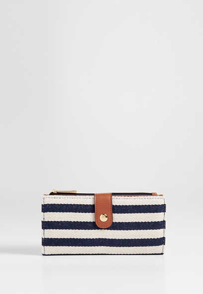stripe canvas wallet