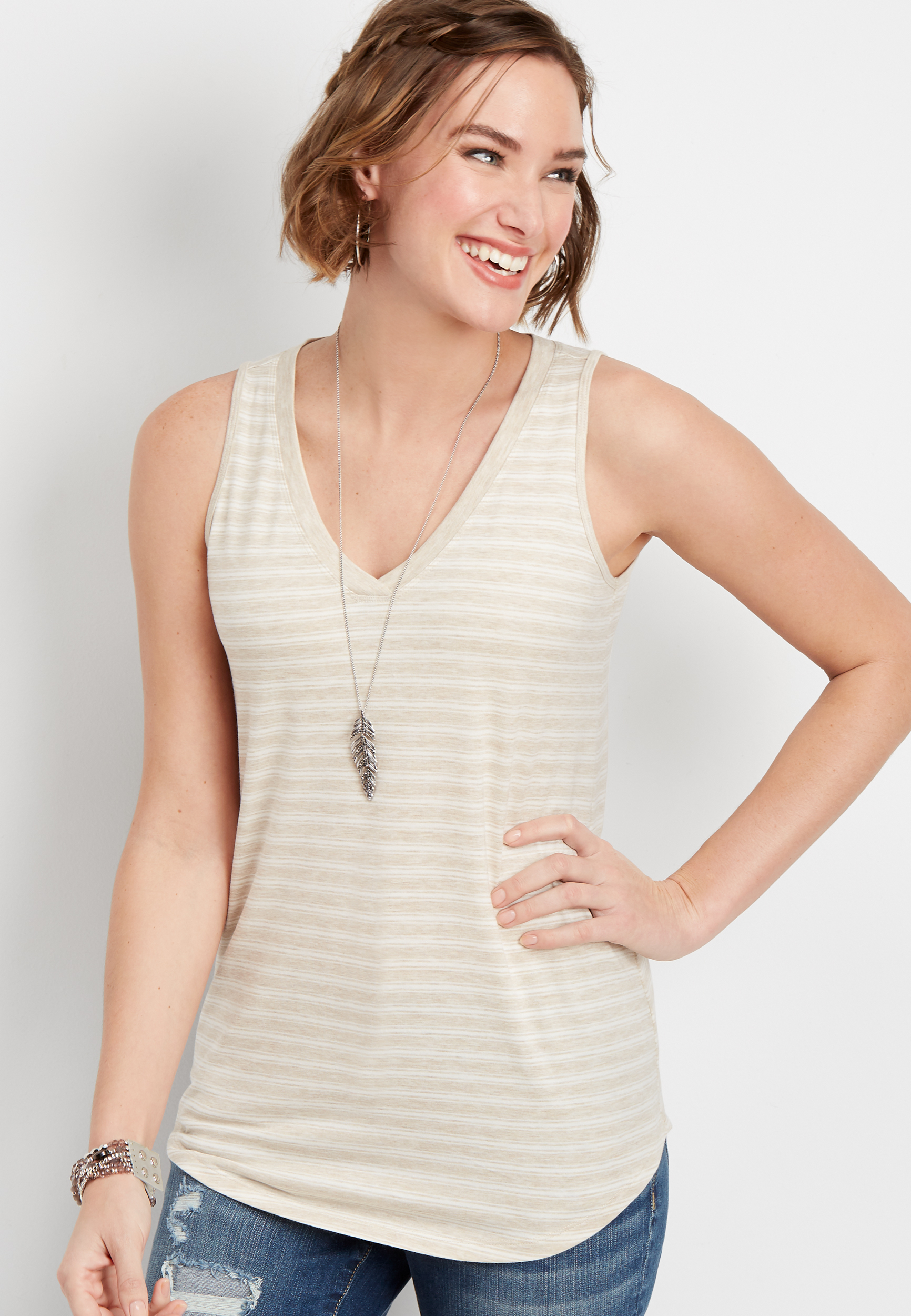 24/7 Stripe V Neck Tank by Maurices