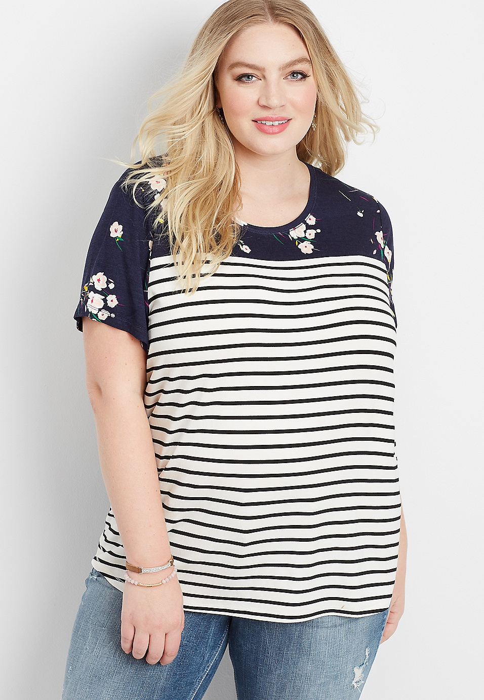 c0a8a9195 plus size 24/7 crew neck colorblock tee | maurices