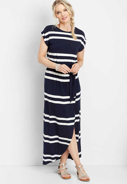 stripe print tulip maxi dress