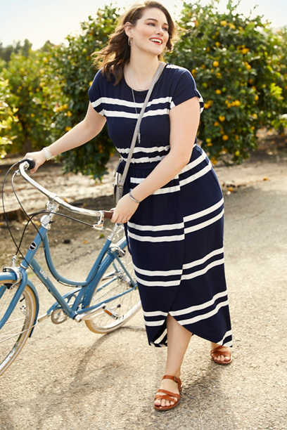 plus size stripe print tulip maxi dress