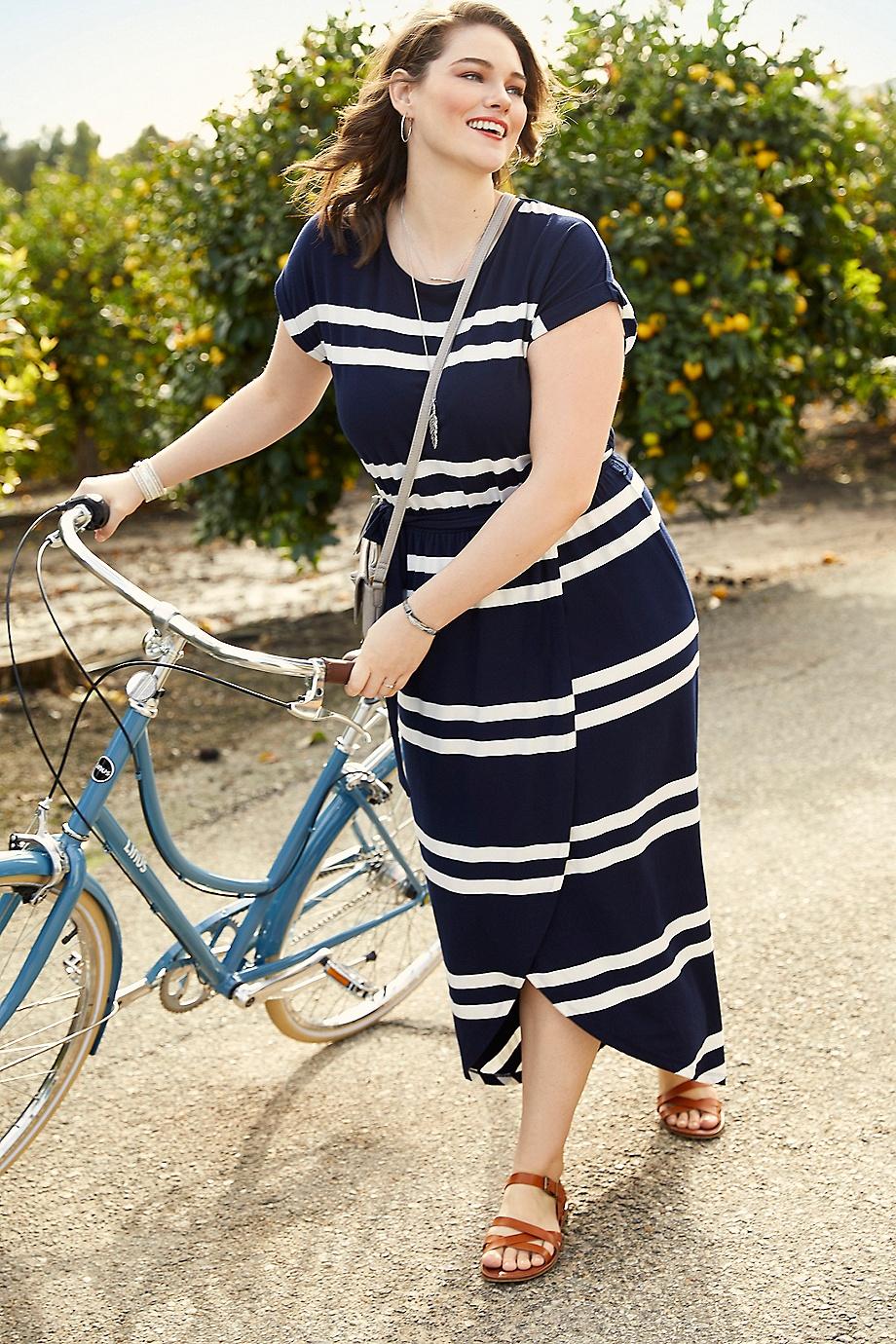 6d07fa7b76d plus size stripe print tulip maxi dress