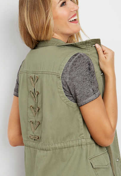 olive lace up back vest