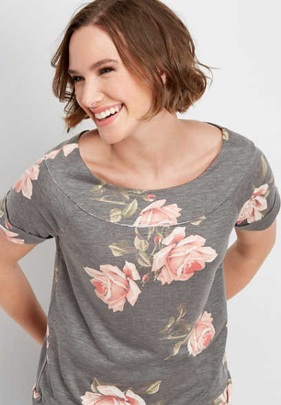 floral marilyn neck short sleeve sweatshirt