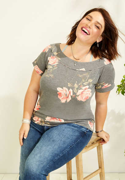 plus size floral marilyn neck pullover